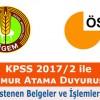 KPSS 2017/2 ile TİGEM'e Yerleştirilen Adaylar İçin Duyuru
