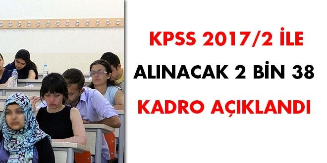 KPSS 2017/2 ile alınacak 2 bin 38 kadro açıklandı