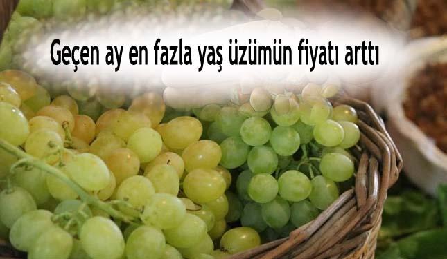 Geçen ay en fazla yaş üzümün fiyatı arttı